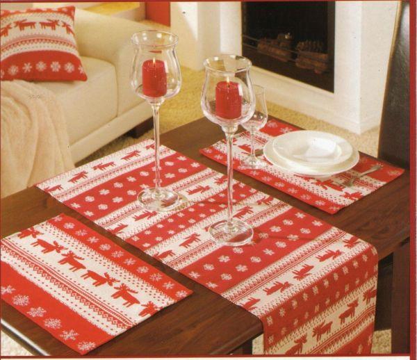 Tischläufer + Platzset im 2er Pack Gobelin Motiv: Weihnachten