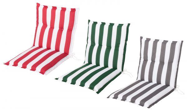 Gartenstuhlauflagen Sitzauflagen Auflagen für Niedriglehner Streifen in 3 Farben