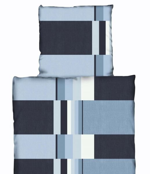 Bettwäsche Bettbezug Thermofleece 135x200 blau grau Teddyplüsch Garnitur Winter
