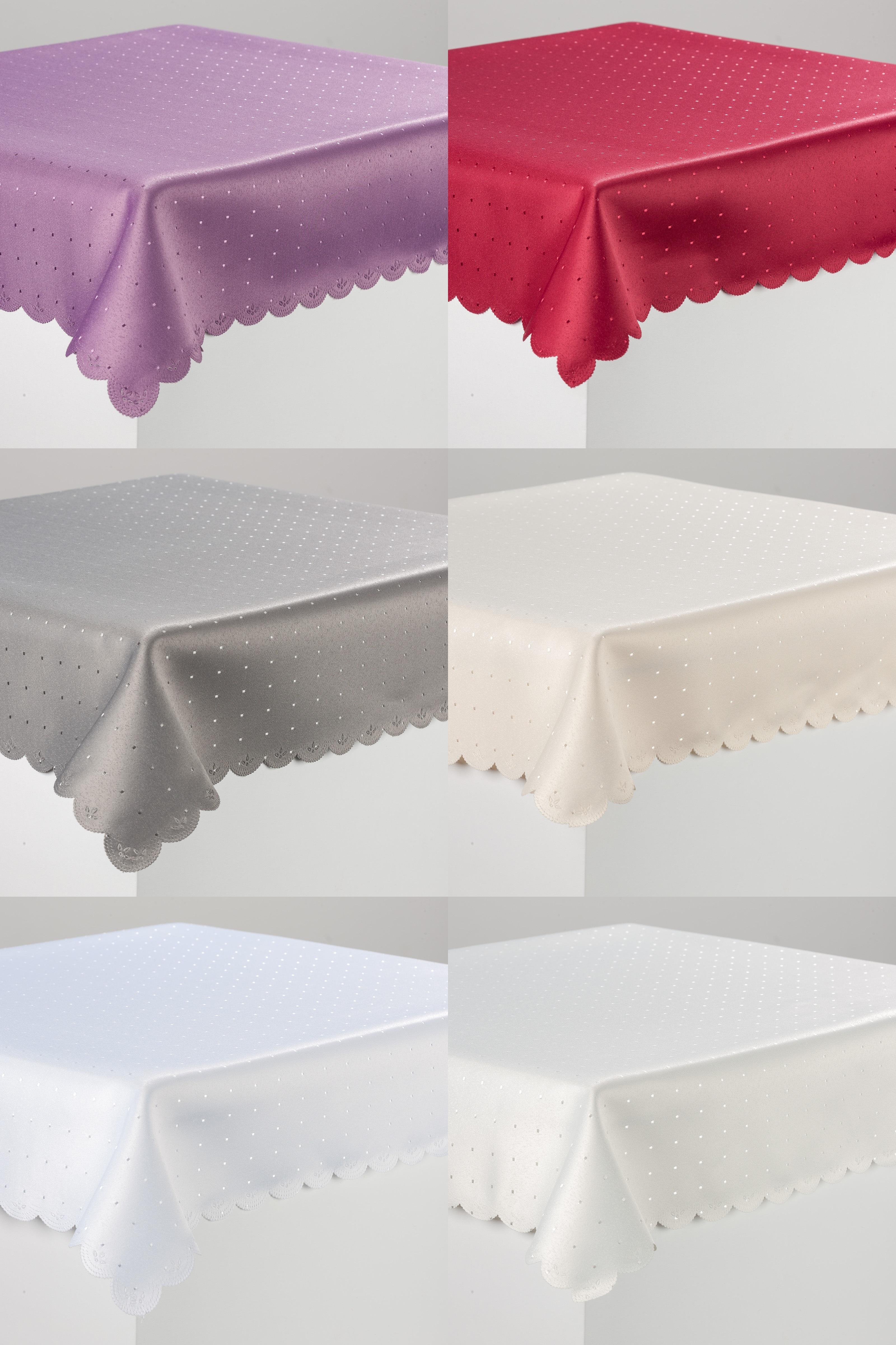 tischdecke decke punkte fleckversiegelt damast in 32 gr en in top qualit t tischw sche. Black Bedroom Furniture Sets. Home Design Ideas
