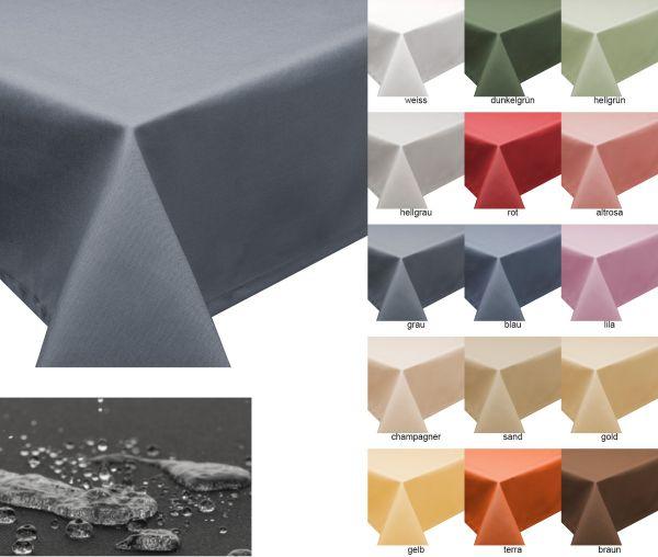 Tischdecke mit Fleckschutz, Lotus Effekt, abwaschbar in 27 Größen, 15 Farben in eckig, oval, rund