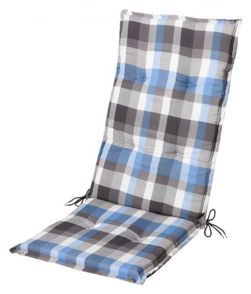 Gartenstuhlauflagen-Stuhlauflagen-Sitzauflage für Hochlehner grau blau