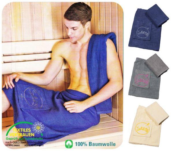 Herren Sauna Set 2teilig Saunakilt Sarong Saunatuch Handtuch Wellness Druckknopf