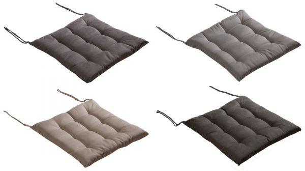 Stuhlkissen mit Bindebändern und 9-Punkt-Steppung in 4 Farben