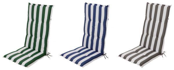 gartenstuhlauflage f r hochlehner mit blockstreifen in 3 farben stuhlauflagen f r hochlehner. Black Bedroom Furniture Sets. Home Design Ideas