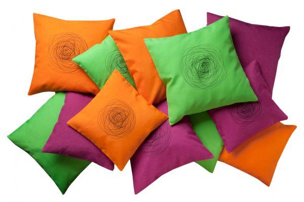 Kissenhülle 40x40 cm und 50x50 cm in uni und mit Stickerei in 3 Farben