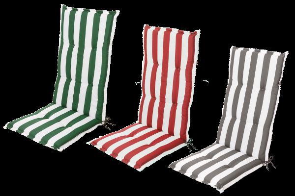 Stuhlauflage Hochlehner Gartenstuhlauflage Sitzauflage Blockstreifen in 3 Farben