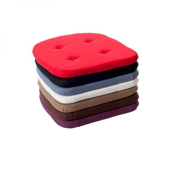 Stuhlkissen mit Kordelband, hinten abgerundet, in 3 Farben