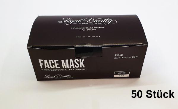 Mundschutz Atem Nasen Schutz Maske 3-lagig Einweg Gummiband schwarz 50 Stück
