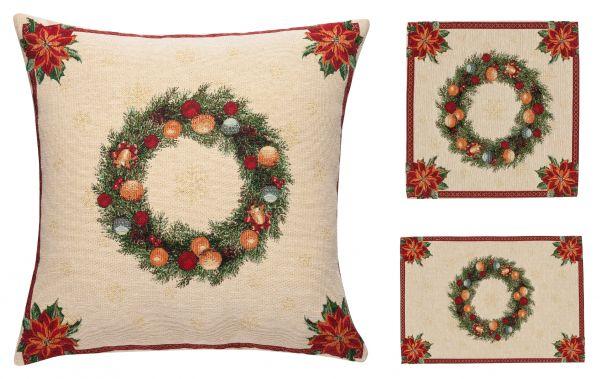 Edle Gobelin Weihnachts Kissenhülle Kissenbezug, Deckchen und Tischset Kranz