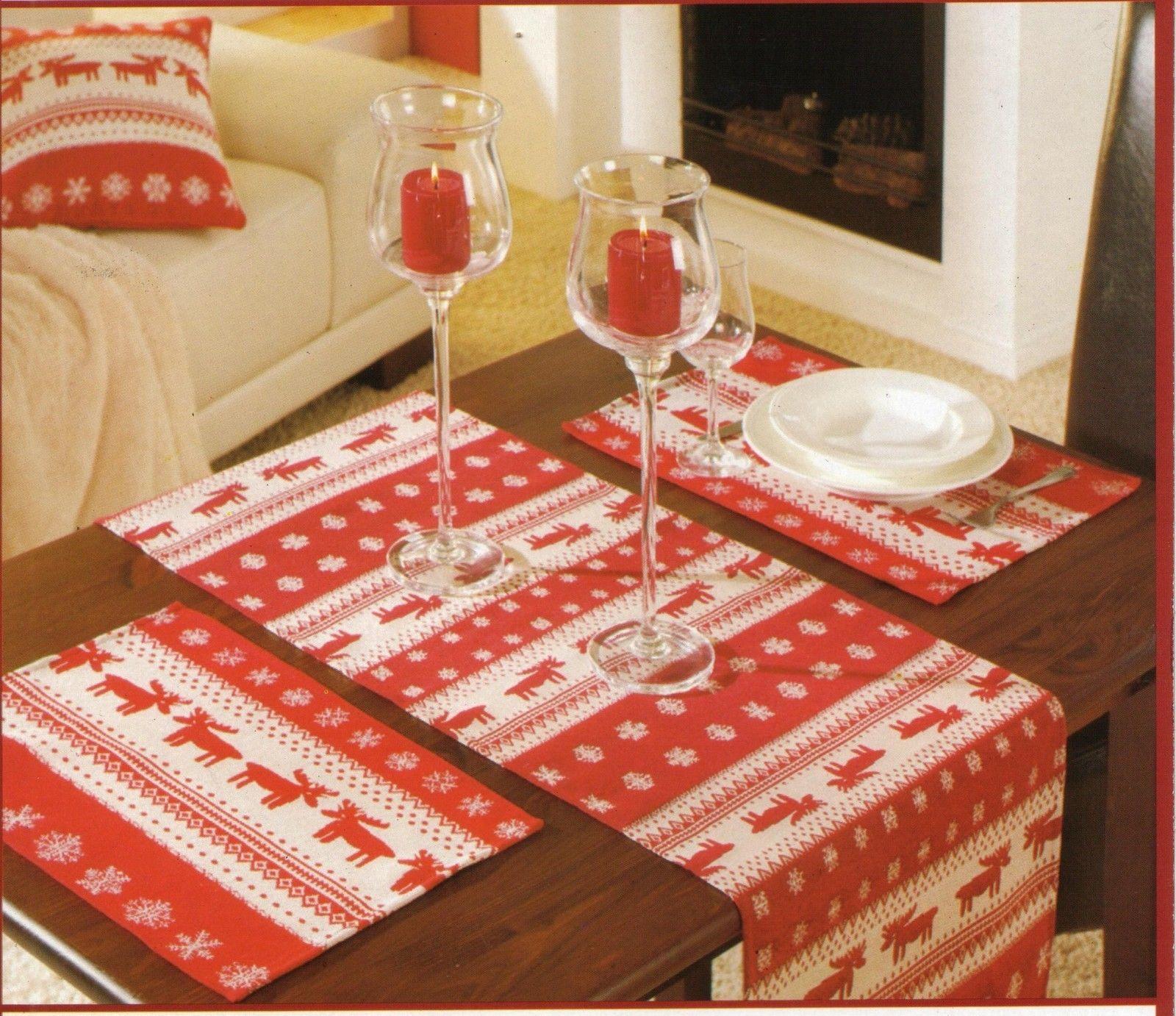 Tischläufer + Platzset im 2er Pack Gobelin Motiv: Weihnachten ...