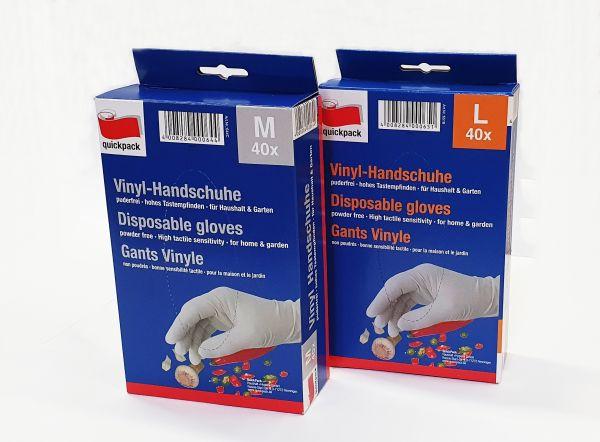 Vinyl Einmalhandschuhe Einweg Handschuh puderfrei ohne Latex 40er Pack