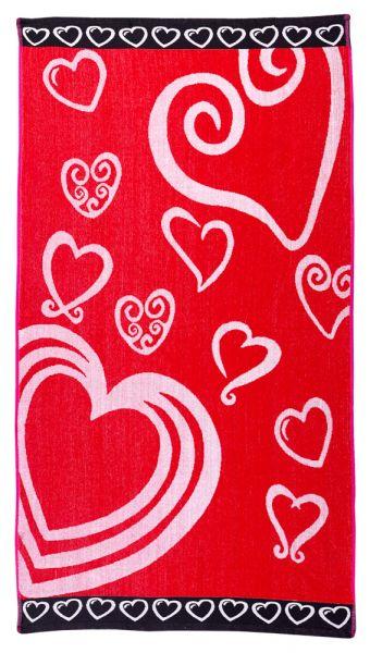 Badetuch 90x165 cm Herz Rot