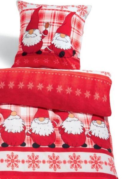 Bettwäsche Bettbezug Thermofleece 135x200 Weihnachten Wichtel Teddyplüsch