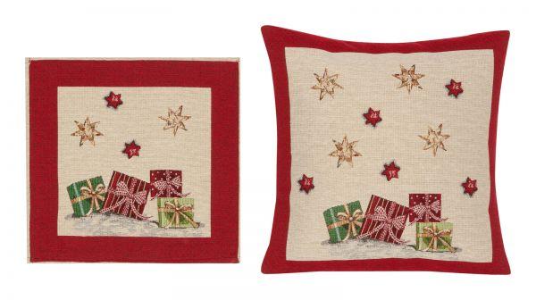 Edle Gobelin Weihnachts Kissenhülle Kissenbezug und Deckchen Geschenke Päckchen