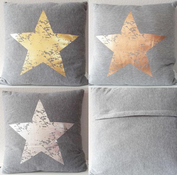 Dekokissen Sterne 45x45cm Kissen mit Füllung Sterndruck