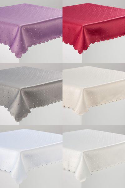 Tischdecke Decke Punkte Fleckversiegelt DAMAST in 32 Größen in TOP Qualität